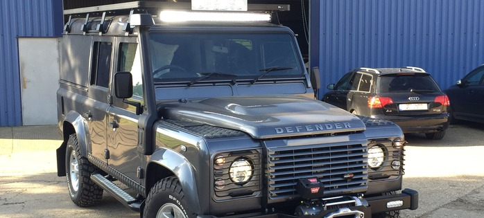 Another Customers' Defender exits the ACHSV 4×4 Workshop